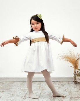 Vestido Rita manga campana otomán y seda dorada