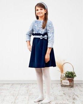 Vestido Ivonne en sarga y terciopelo azul