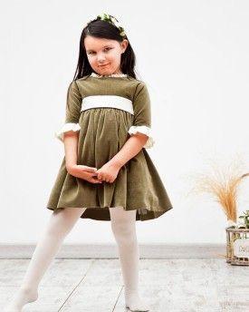Vestido Rita manga campana en terciopelo musgo y seda crema