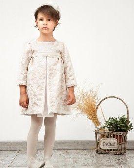 Vestido Eleanor en borcado y tul marfil