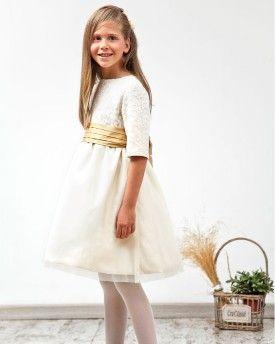 Vestido Olivia en tul bordado y tul marfil