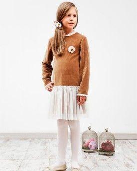 Vestido Lauren en terciopelo corteza y tul marfil