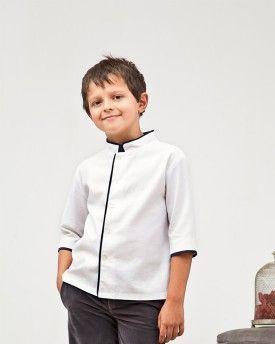 Camisa mao m 3/4 Oxford blanco ribeteada en gris