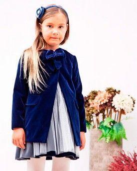 Abrigo niña con lazo terciopelo azul