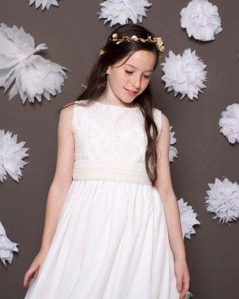 Vestido de comunión Alice en organza bordada y tul marfil
