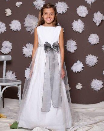 Vestido de comunión Alice en satin y tul blanco