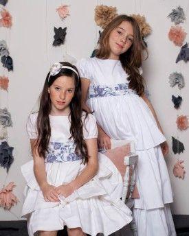 Vestido de comunión Donna corto en canutillo blanco