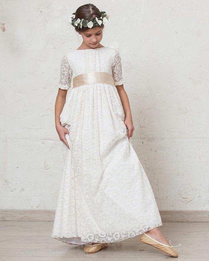 Vestido de comunion grace en tul de seda bordado - First outlet vigo ...