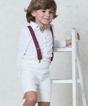 camisa blanca manga larga para niños de arras