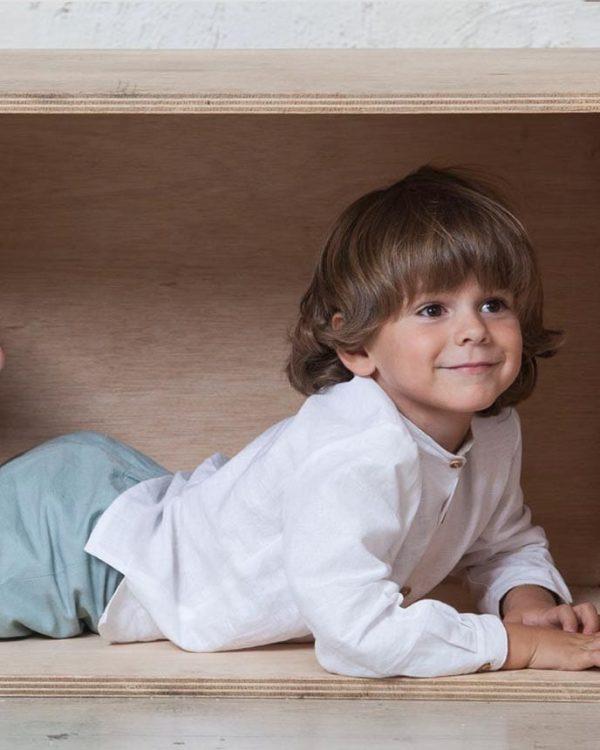 camisa de lino blanca cuello mao de niño