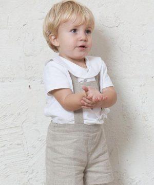 camisa de ceremonia para niño lino blanco