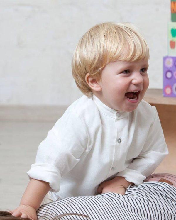 camisa mao de lino blanco para bebé