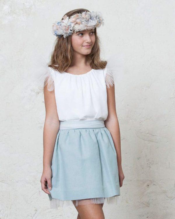 falda de adolescente para bodas con tul