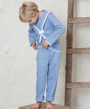 traje de comunión de marinero de lino azul