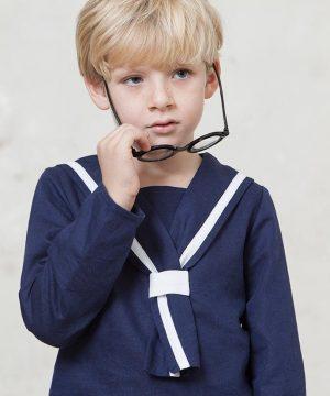casaca marinero de comunión de lino azul marino
