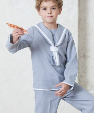 traje de comunión de marinero de lino