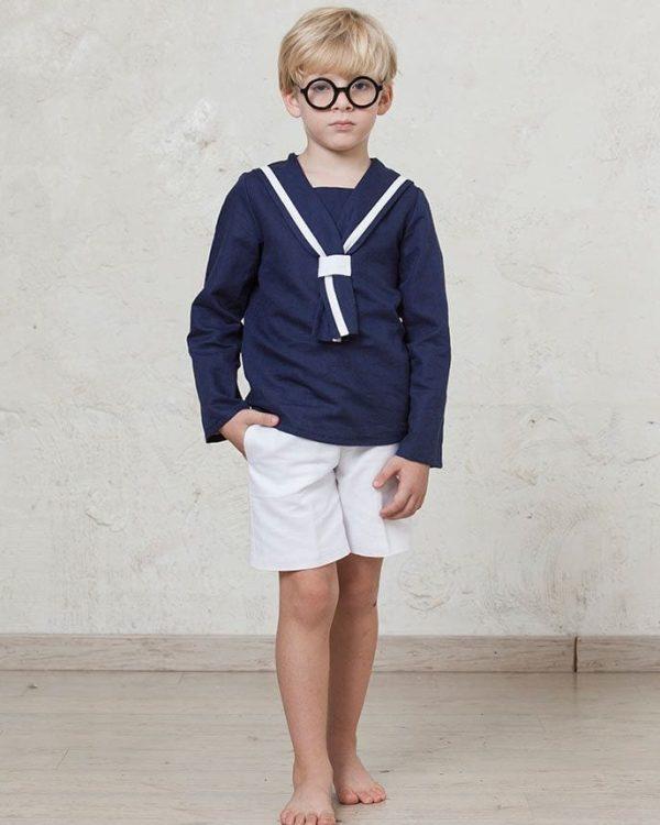 traje de comunión de marinero pantalón corto de lino