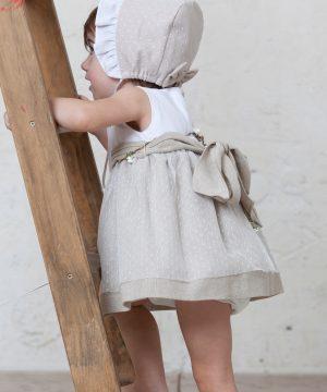 vestido ceremonia niña plumeti beige