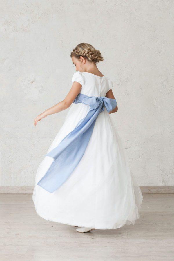 vestido de comunión de manga farol con tul
