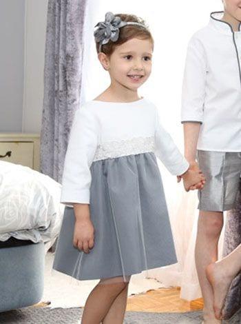 3f5dc2b15 Vestido de ceremonia Olivia con tul en blanco y gris