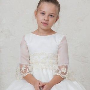 Vestido de comunión Audrey en organza y encaje romántico 13600dd1d30