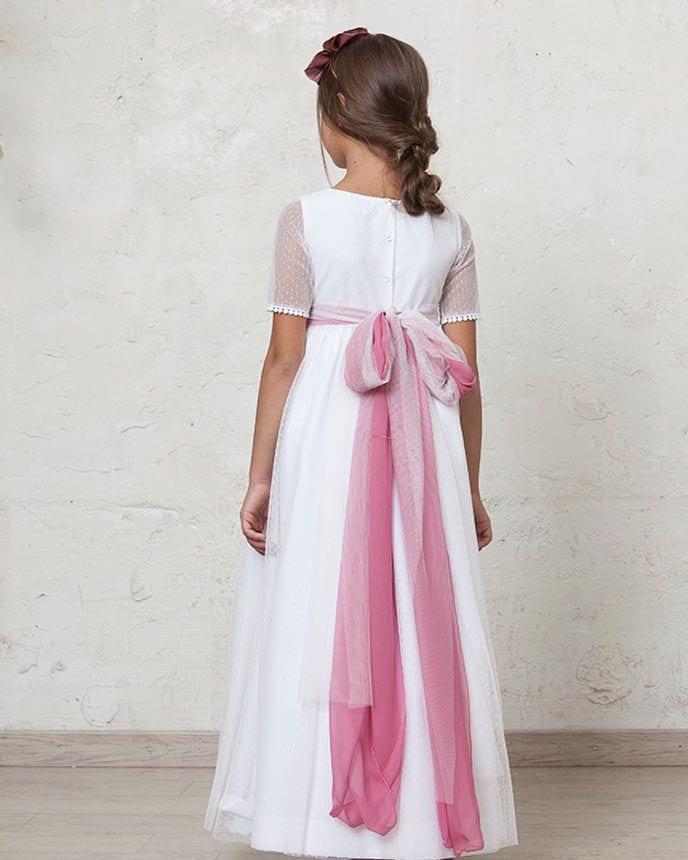 Vestidos de comunion con lazo rosa