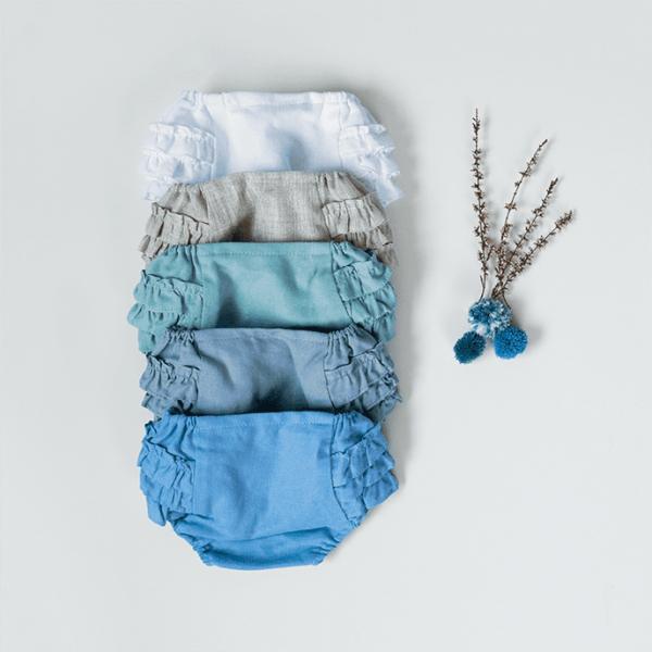 cubrepañal de bebé para ceremonia de lino azul