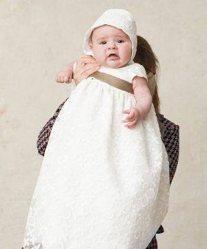 faldón de bautizo de seda