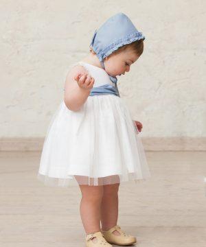 vestido de ceremonia de niña bebé en blanco