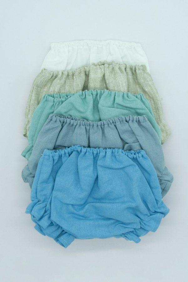 cubrepañal de lino azul de ceremonia de bebé para verano
