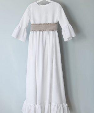 vestido de comunión de lino y batista