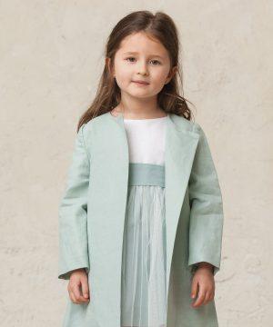 abrigo de vestir de niña en verde agua