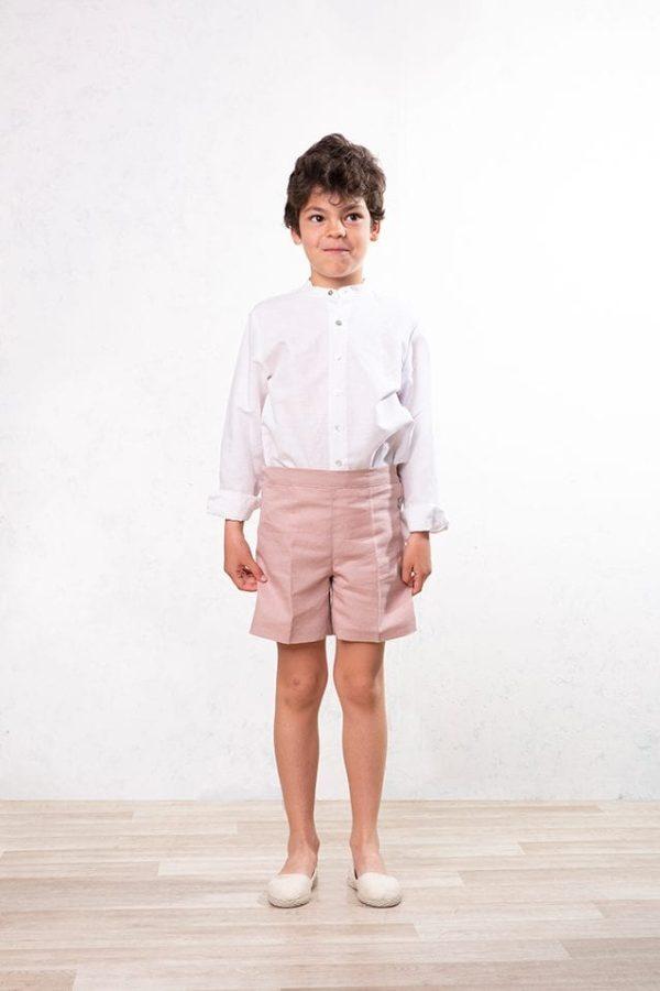 pantalón corto de lino rosa para niños de ceremonia