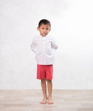 camisa de cuello mao de lino blanco para niño de ceremonia