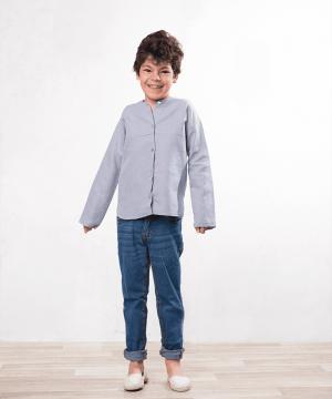 camisa cuello mao de lino para niños de ceremonia