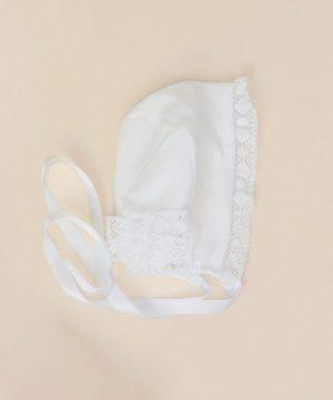 capota sencilla de bautizo de lino y algodón