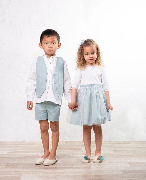 conjunto chaleco de lino de niños para bodas