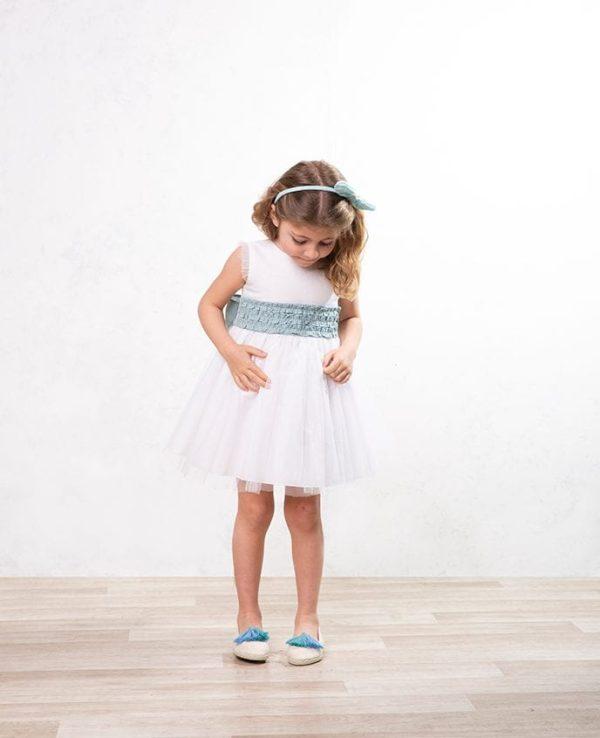 vestido de arras para niñas de lino y tul