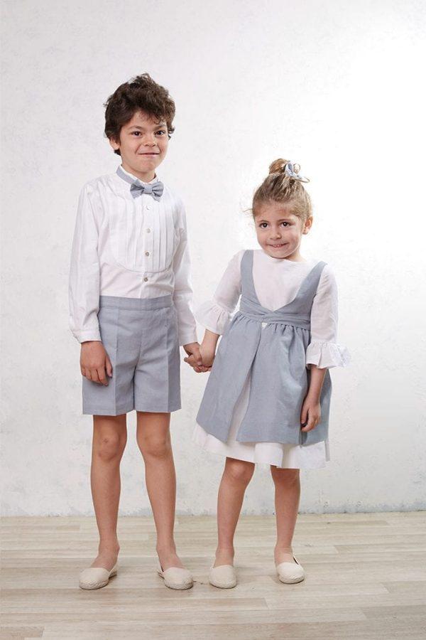 camisa blanca de algodón de ceremonia