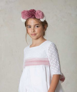 vestido de comunión de lino y algodón bordado