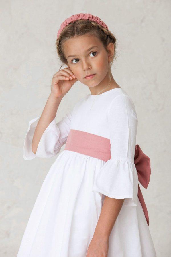 fajin de lino rosa empolvado para hacer lazo en vestido de comunión