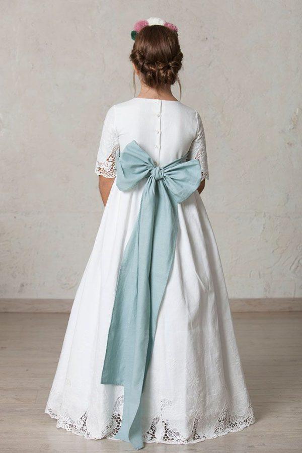 lazo verde agua para vestido de comunión de niña