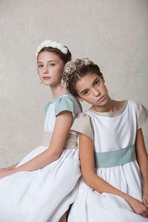 saya de comunión de lino blanca para vestidos