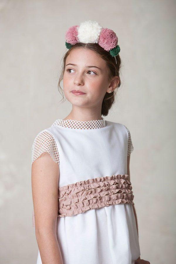 vestido de comunión original con fajín de lino