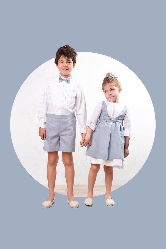 conjunto azul de lino para vestir a hermanos a juego para ceremonias