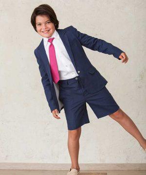 Traje de lino de niño de pantalón corto. Ropa de niño para ceremonia y ocasiones especiales de Quemono