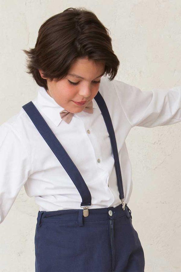 Tirantes de lino de niño a juego con el pantalón. Complementos de ceremonia y comunión para niños de Quemono