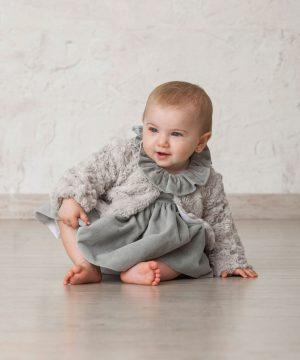 abrigo para niñas bebé de pelo gris