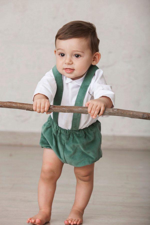 bermuda verde tirolesa de pana para bebés