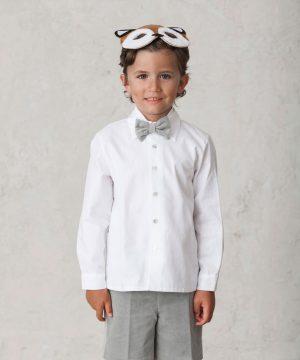 camisa blanca larga de niño para vestir elegante en ceremonias